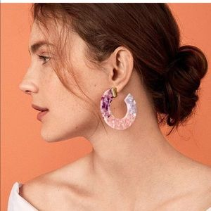 Jewelry - Pink Purple Resin Acrylic Circle Hoop Earrings